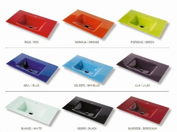 lavabos de cristal para baos de colores